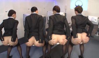 美人CAたちの茶色いアナルを観察しながらケツの穴機内サービスの解説を受ける肛門フェチ動画